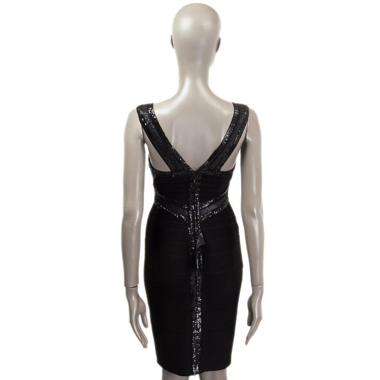 Women's HERVE LEGER black SEQUINS CRISS CROSS Sleeveless BANDAGE BODYCON Dress S For Sale