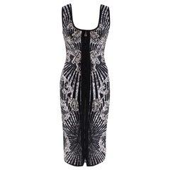 Herve Leger Black Studded Patterned Zip-Front Dress S