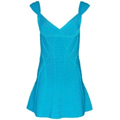 Herve Leger Blue Bandage Flare Dress Sz S