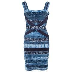 Herve Leger Blue Knit Denim Patch Detail Bandage Dress XS