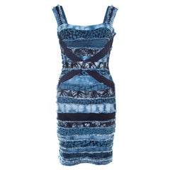Herve Leger Blue Knit Denim Patch Detail Bandage Dress XS