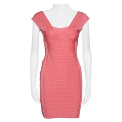 Herve Leger Blush Peach Sleeveless Bandage Dress S