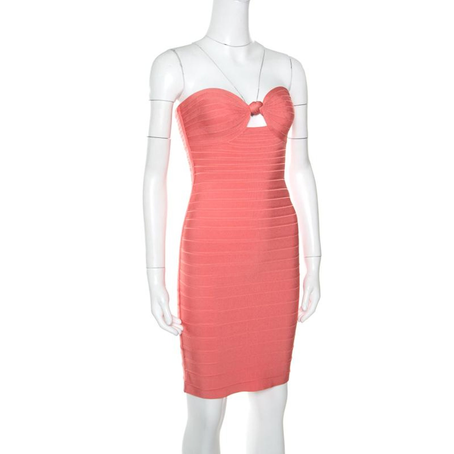 f9c1bad08841 Herve Leger Coral Pink Strapless Arabella Bandage Dress S For Sale at  1stdibs