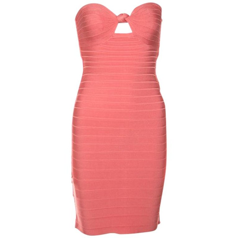 Herve Leger Coral Pink Strapless Arabella Bandage Dress S For Sale