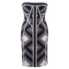 Herve Leger Dree Silver Bandage Dress - Size M