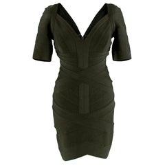 Herve Leger Forest Green Bandage Short Sleeve Mini Dress - Size M