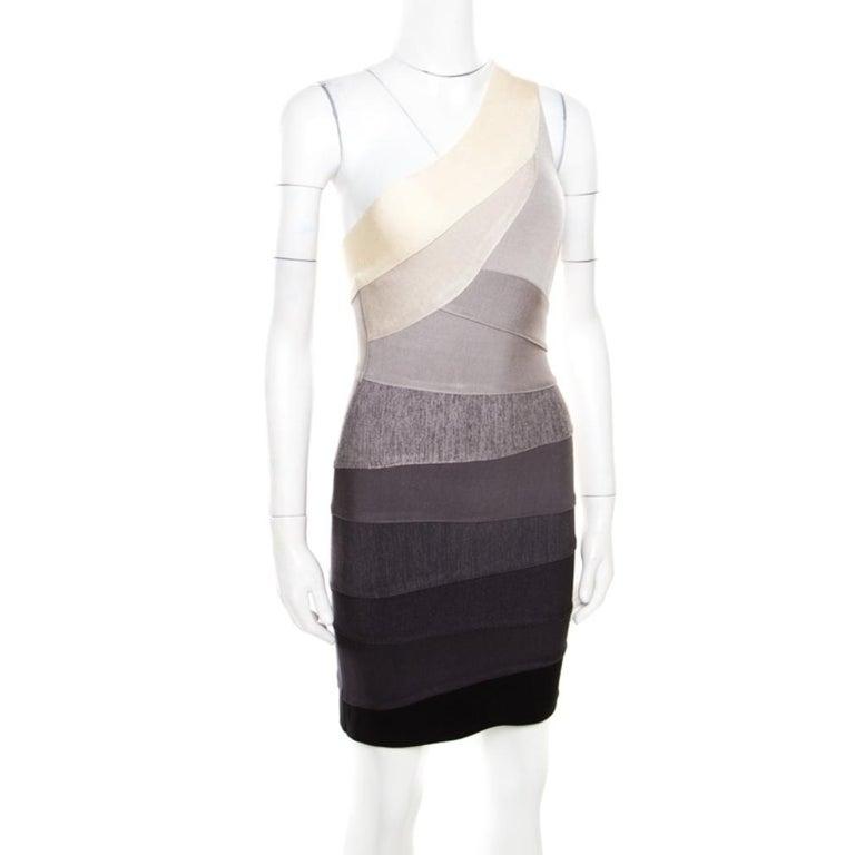 Herve Leger Grey Ombre One Shoulder Alexis Bandage Dress M In Good Condition For Sale In Dubai, Al Qouz 2