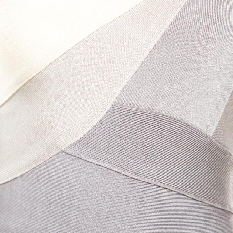 Women's Herve Leger Grey Ombre One Shoulder Alexis Bandage Dress M For Sale