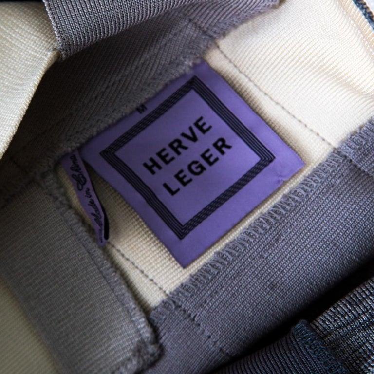 Herve Leger Grey Ombre One Shoulder Alexis Bandage Dress M For Sale 1