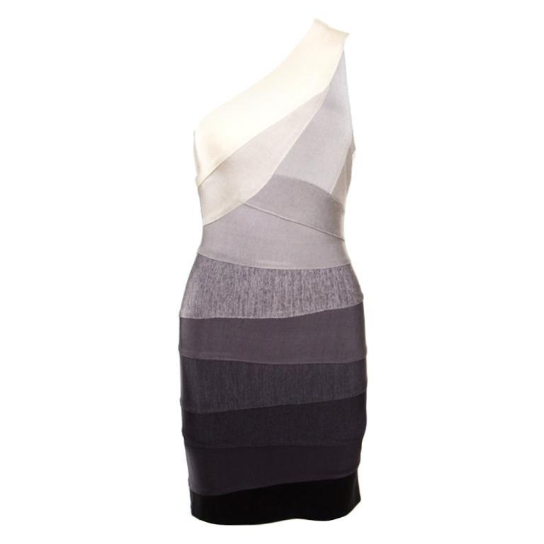 Herve Leger Grey Ombre One Shoulder Alexis Bandage Dress M For Sale