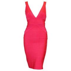 Herve Leger Hot Pink Bandage V Neck Formfitting Dress