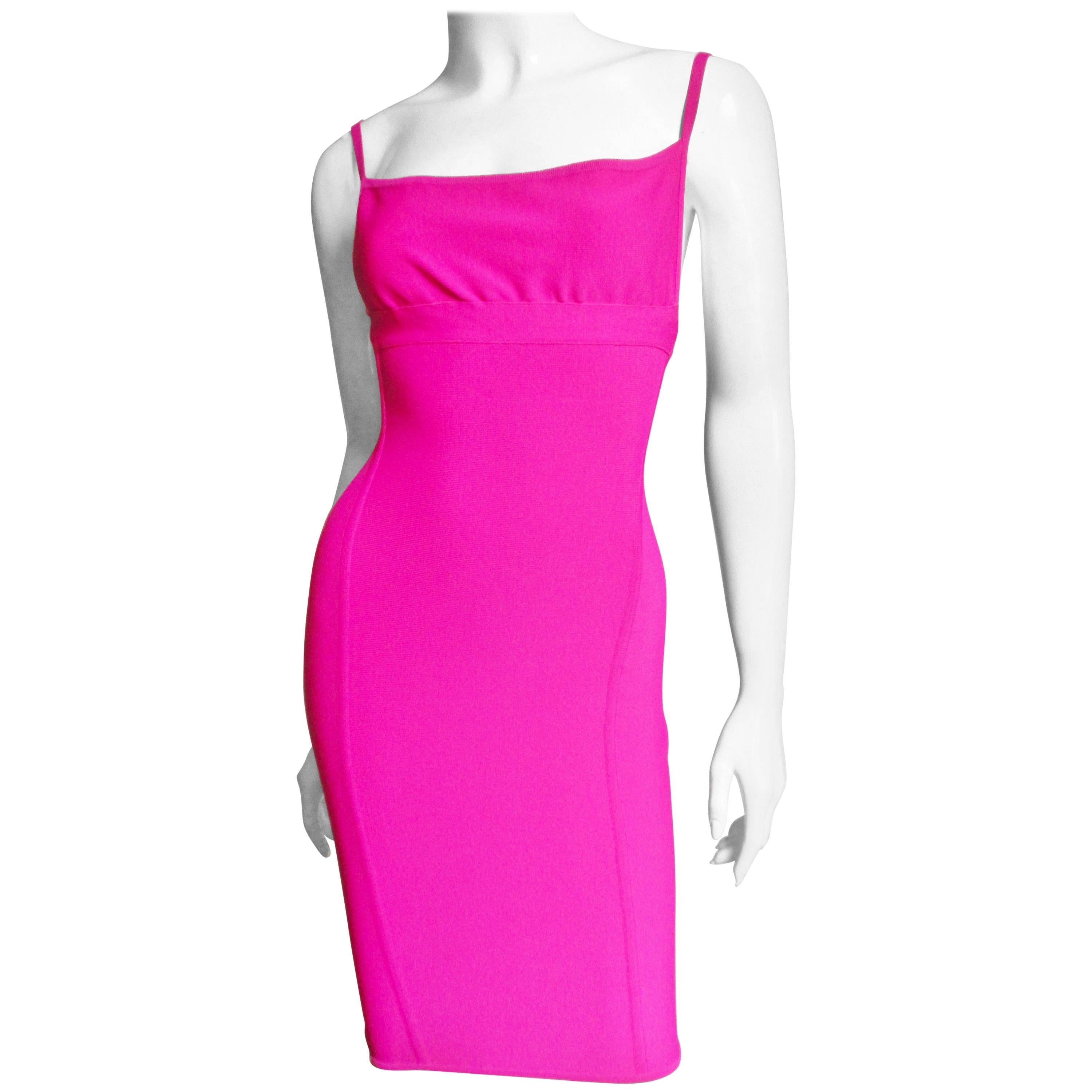 Herve Leger Hot Pink Bodycon Dress 1990s