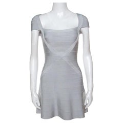 Herve Leger Icy Grey Cap Sleeve Makayla Bandage Skater Dress XXS