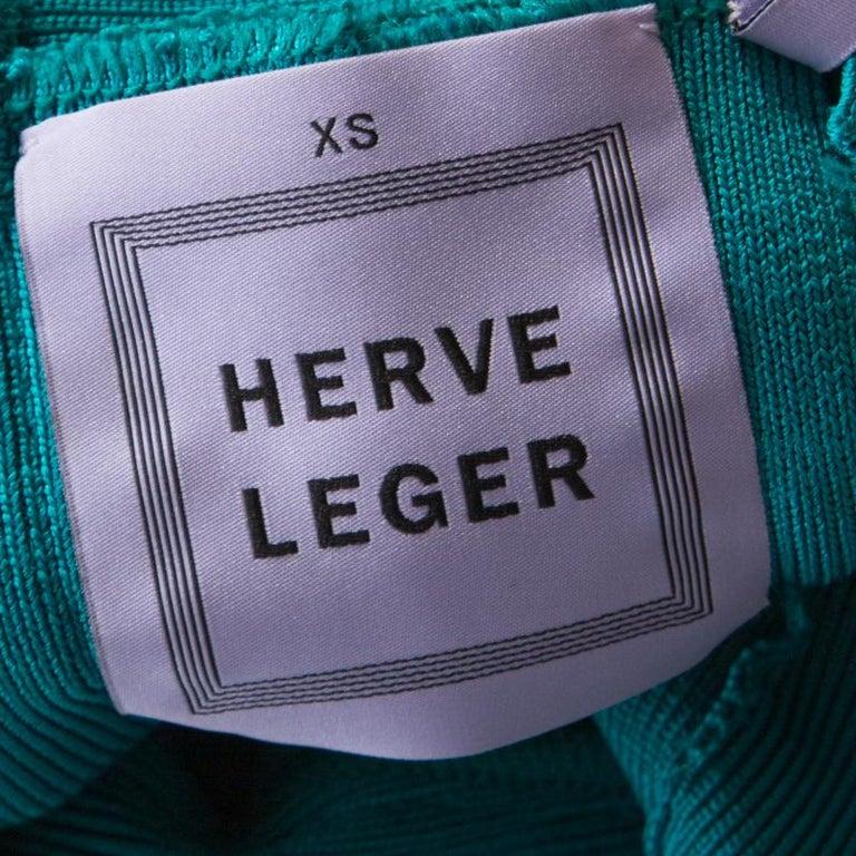 Herve Leger Jade Green Cross Back Detail Mini Bandage Dress XS 1