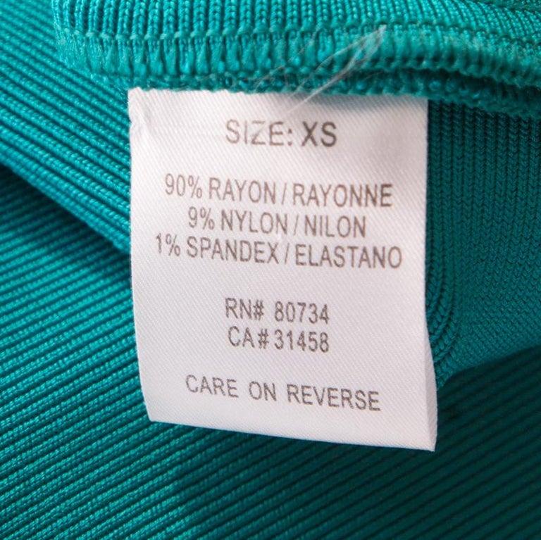 Herve Leger Jade Green Cross Back Detail Mini Bandage Dress XS 2