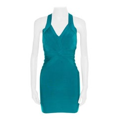Herve Leger Jade Green Cross Back Detail Mini Bandage Dress XS