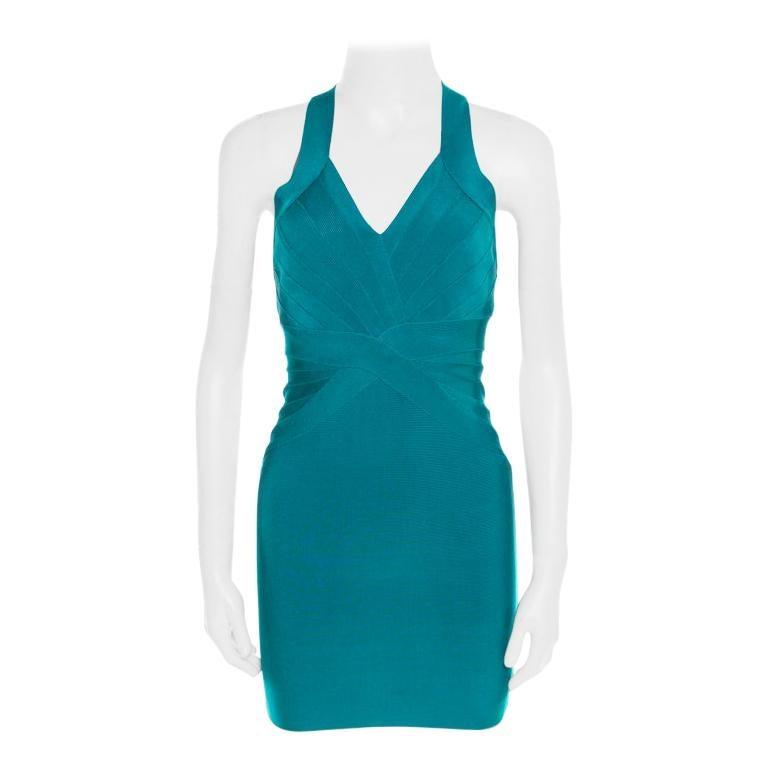 Herve Leger Jade Green Cross Back Detail Mini Bandage Dress XS