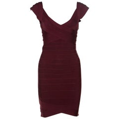 Herve Leger Leger Beet Burgundy Knit Nannette Bandage Dress XS