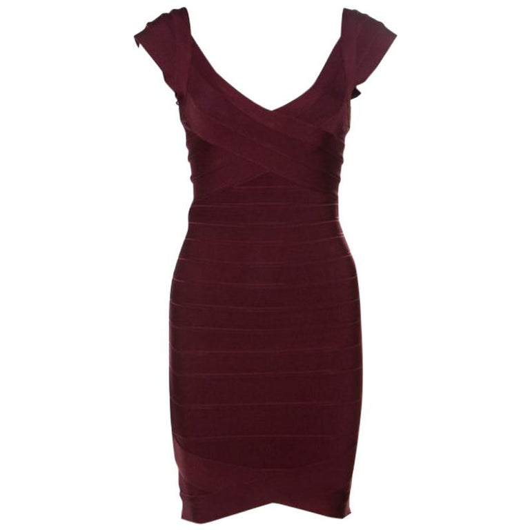 c5e75d26d1 Herve Leger Leger Beet Burgundy Knit Nannette Bandage Dress XS For Sale