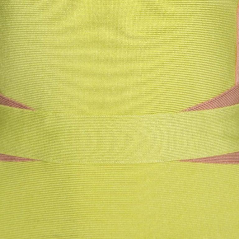 Women's Herve Leger Lime Green Knit Estelle Bandage Dress S