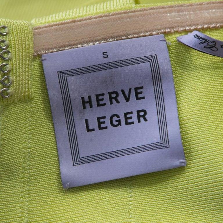 Herve Leger Lime Green Knit Estelle Bandage Dress S 1