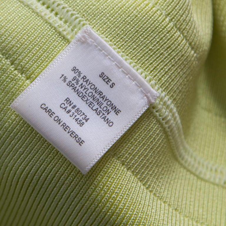 Herve Leger Lime Green Knit Estelle Bandage Dress S 2