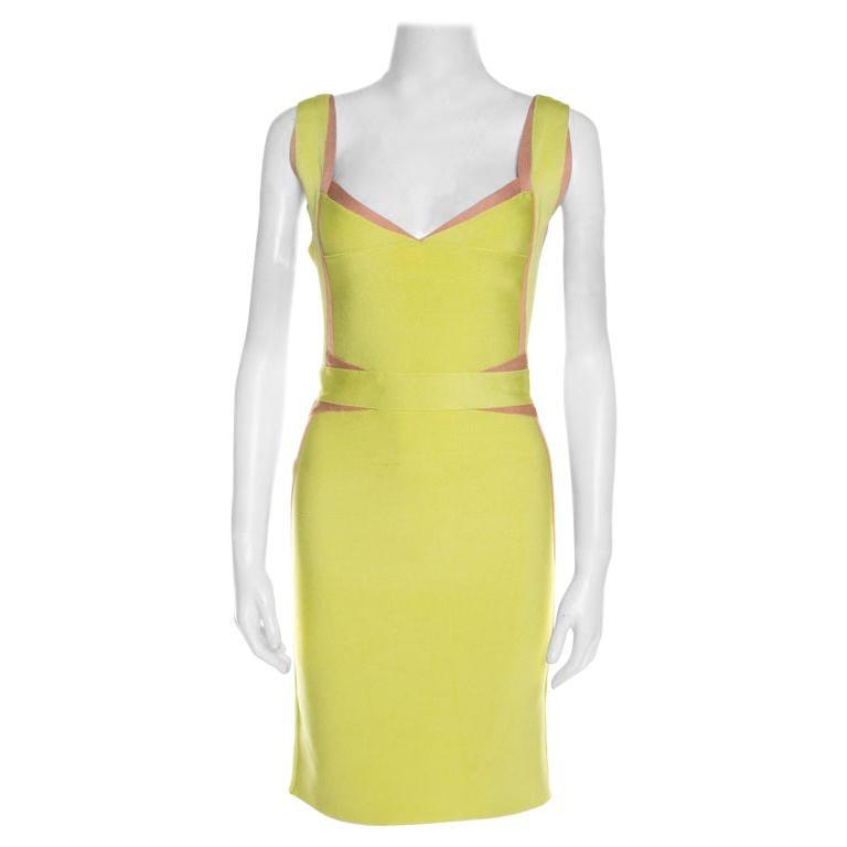 Herve Leger Lime Green Knit Estelle Bandage Dress S