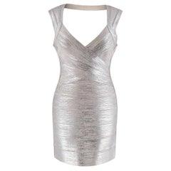 Herve Leger Metallic Open Back Bandage Mini Dress S