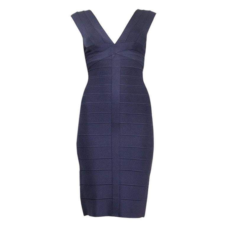 HERVE LEGER midnight blue BANDAGE BODYCON Dress XS