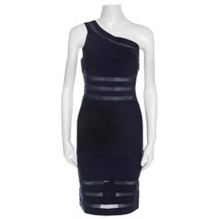 Herve Leger Navy Blue Knit and Mesh Insert One Shoulder Lara Bandage Dress M