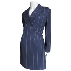 Herve Leger Navy Wrap Dress 1990s