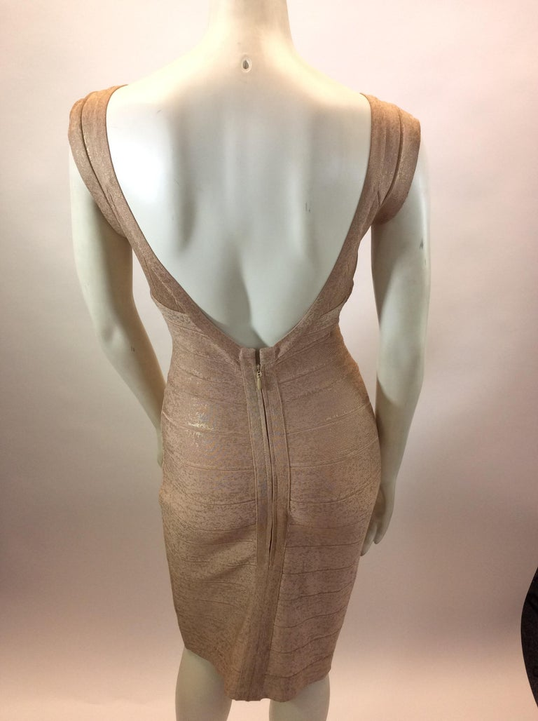 Brown Herve Leger Nude and Gold Tone Bandage Dress For Sale