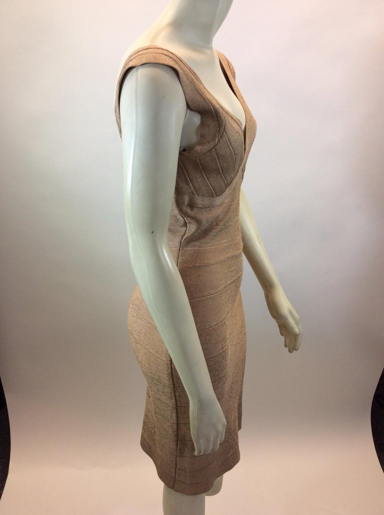 Herve Leger Nude and Gold Tone Bandage Dress In Good Condition For Sale In Narberth, PA