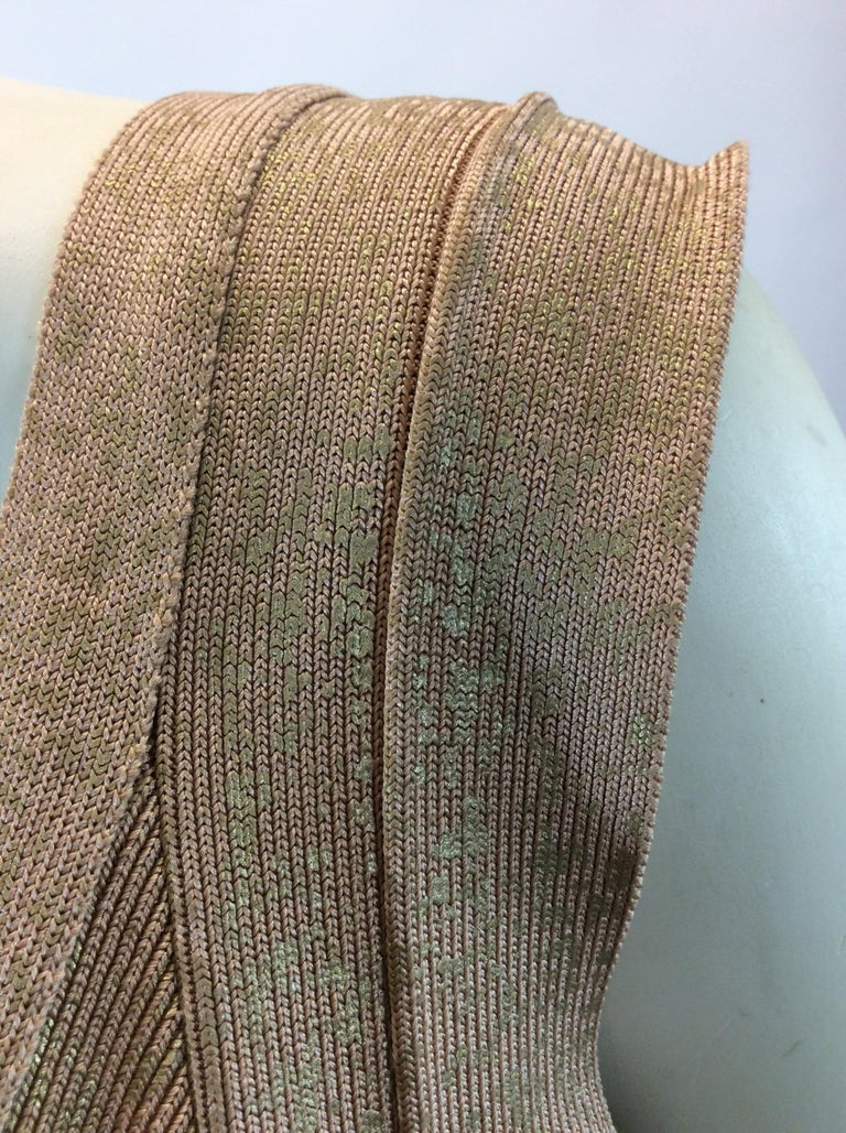 Herve Leger Nude and Gold Tone Bandage Dress For Sale 1