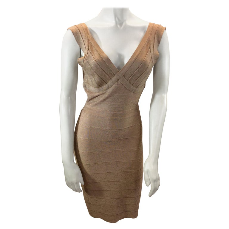 Herve Leger Nude and Gold Tone Bandage Dress For Sale