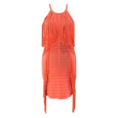 Herve Leger Orange with fringes dress NWOT