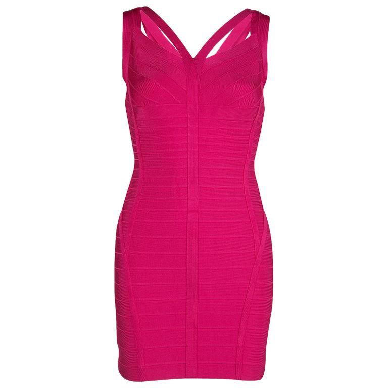 9e6ba145de77 Herve Leger Pink Knit Sleeveless Bandage Dress S For Sale at 1stdibs