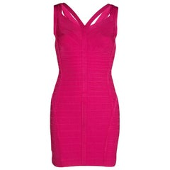 Herve Leger Pink Knit Sleeveless Bandage Dress S