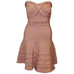 Herve Leger Pink Strapless With Multi Tier Ruffles at Wide Hem Mini Dress Medium
