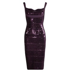 Herve Leger Prune Sequin Embellished Sleeveless Bandage Dress M