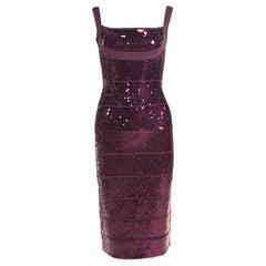 Herve Leger Prune Sequined Bandage Dress M