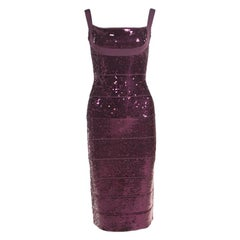Herve Leger Prune Sequined Bandage Dress M