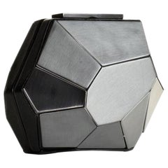 Hervé Leger Rare Multifaceted Minaudière Metallic Grey Metal and Leather Clutch