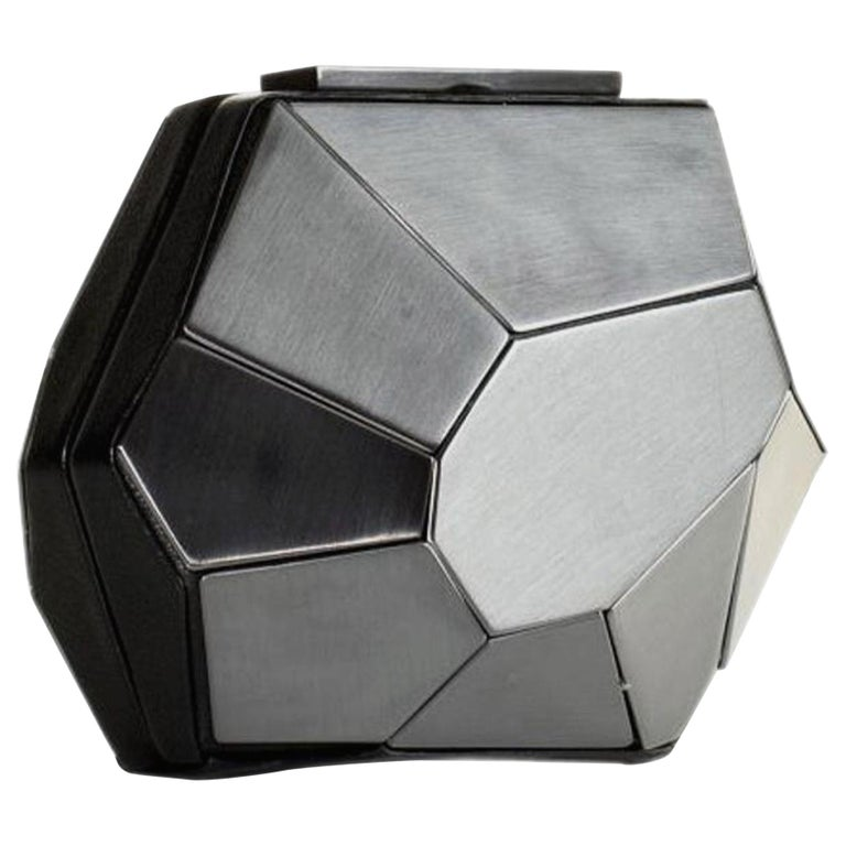 Hervé Leger Rare Multifaceted Minaudière Metallic Grey Metal and Leather Clutch For Sale