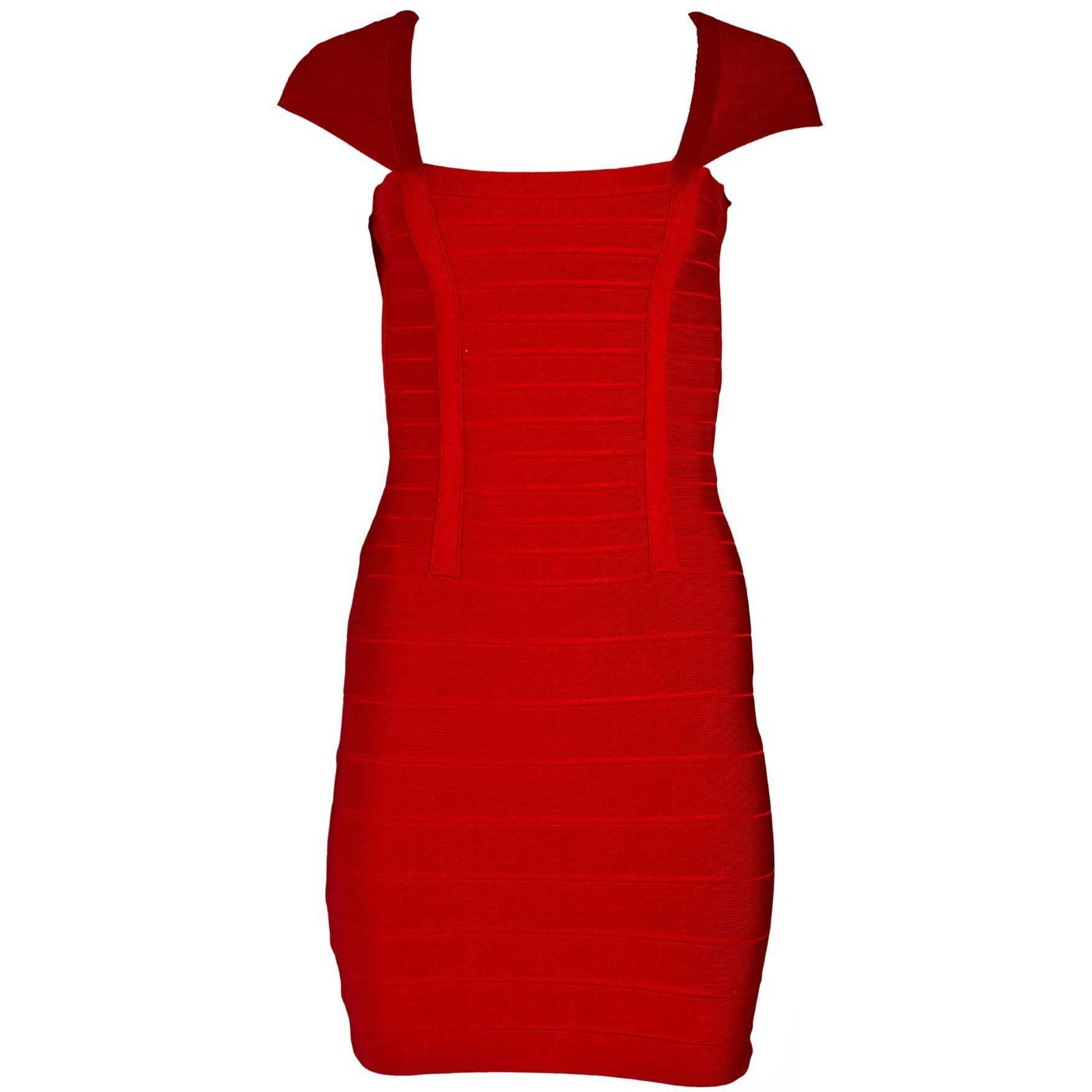 Herve Leger Red Bandage Dress Sz S For Sale at 1stdibs
