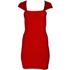 Herve Leger Red Bandage Dress Sz S
