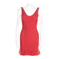 Herve Leger Red Sleeveless Bandage Fit and Flare Dress XS