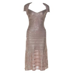 Herve Leger Rose Gold Bandage Sweetheart Neckline Emilia Dress M