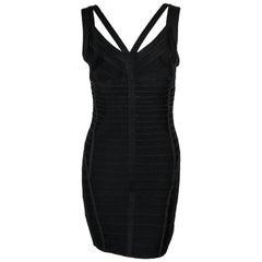 Herve Leger Signature Black Bandage Bodycon Dress with Straps XS