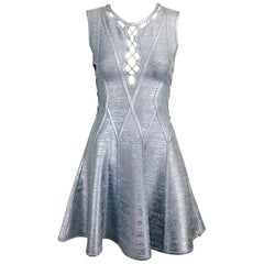 Herve Leger Silver Lavender Metallic Foil Lace Up Fit and Flare Bandage Dress